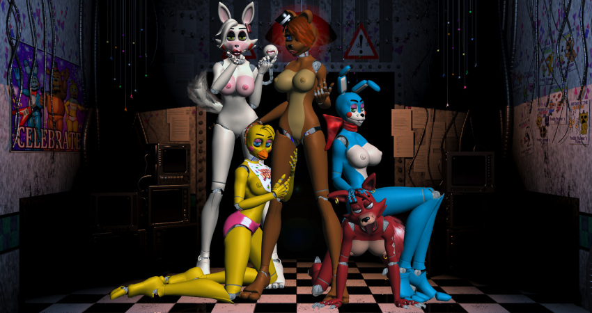 nights five freddy's foxy and chica at Taimanin asagi battle arena english